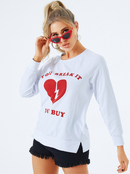 YOINS White Graphic Round Neck Long Sleeves Tee