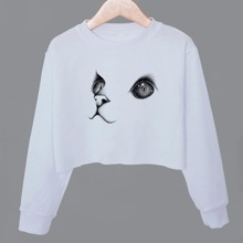 Crop Sweatshirt mit Katze Muster