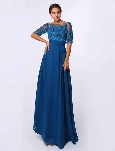 Milanoo A-line Applique Chiffon Dress