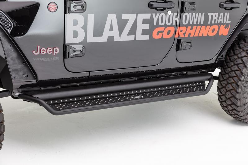 Go Rhino D14926T Dominator D1 Side Steps w/ Full Length Drop Steps, Black Powdercoat Finish Jeep Wrangler 2007-2017