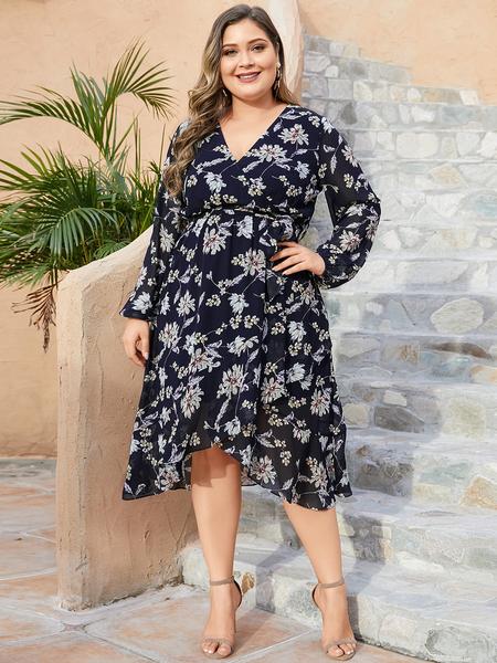 YOINS Plus Size Navy Random Floral Print Long Sleeves Dress