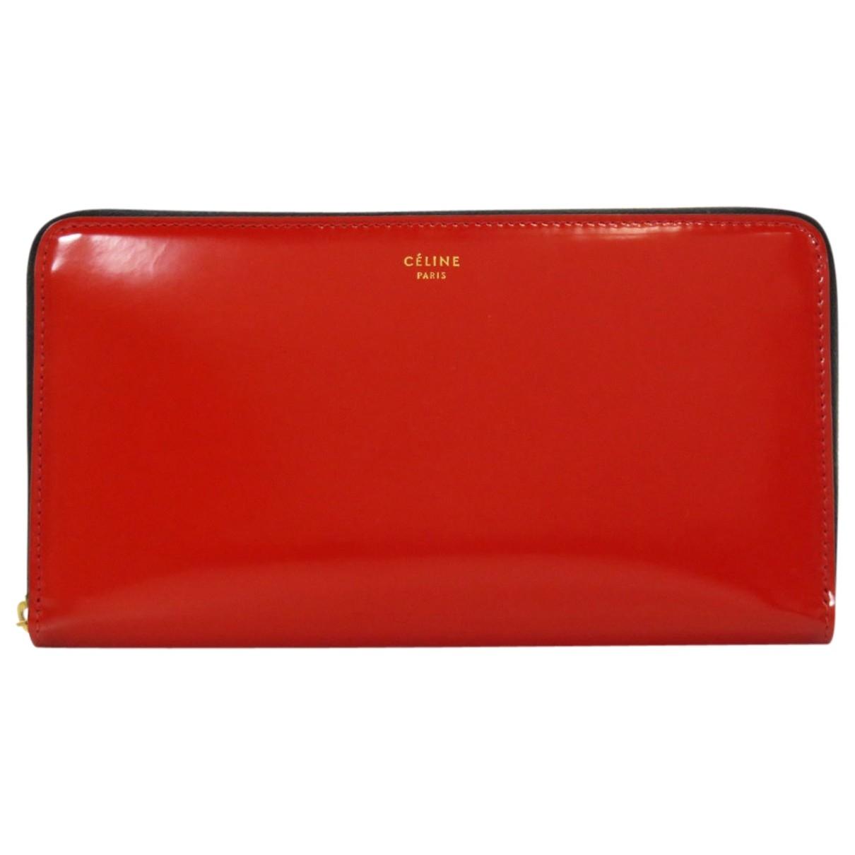 Celine - Portefeuille   pour femme en cuir verni - rouge