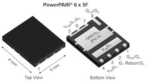 Vishay Siliconix Dual N-Channel MOSFET, 40 (Channnel 1) A, 60 (Channel 2) A, 30 V, 8-Pin PowerPAIR 6 x 5 (3000)