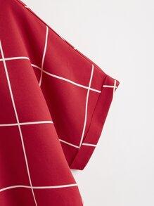 Cuffed Batwing Sleeve Grid Blouse