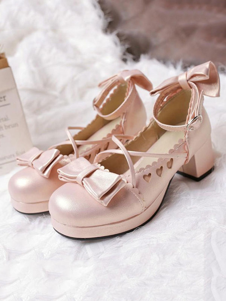 Milanoo Dulce Lolita Pump Bow Sweetheart Cut Out Strappy Pink Chunky Zapatos Lolita tacon alto 2020