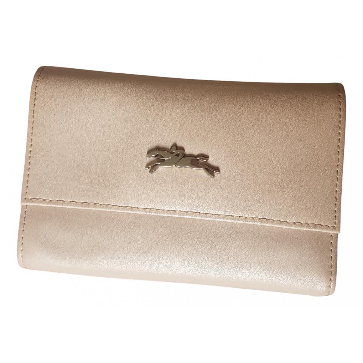 Longchamp - Portefeuille   pour femme en cuir - rose