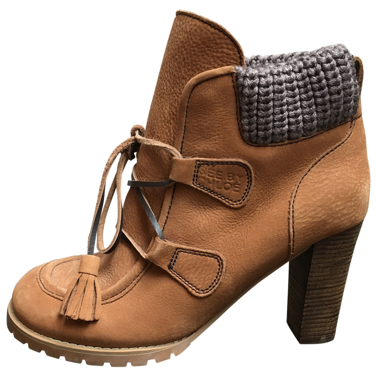 See By Chloe - Boots   pour femme en suede - camel