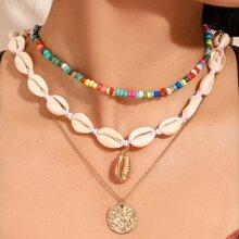 Muenze & Schale Decor Halskette 3pcs