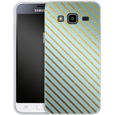 Samsung Galaxy J3 (2016) Silikon Handyhuelle - Gold Foil Stripe von Khristian Howell