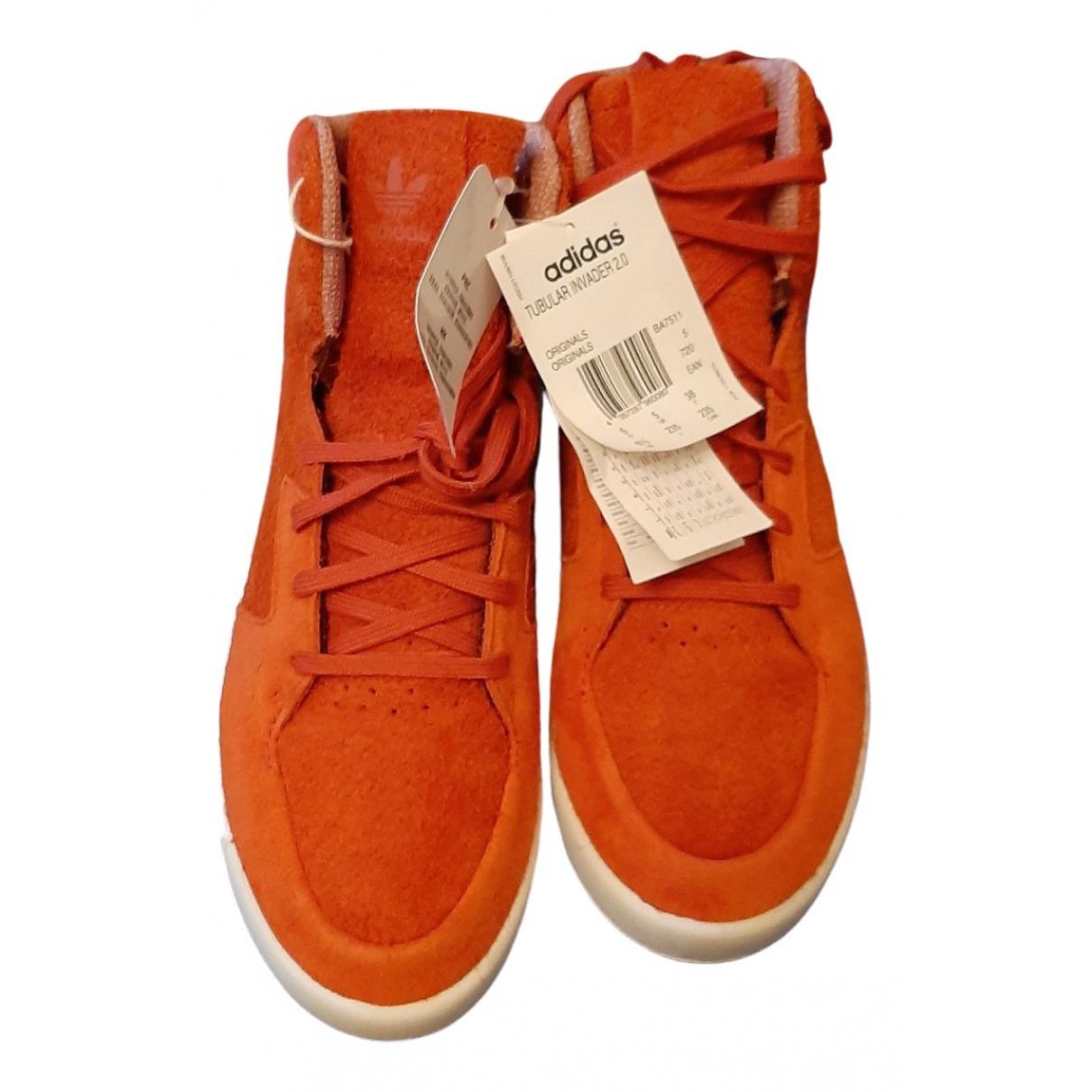 Adidas Tubular Orange Suede Trainers for Women 38 EU