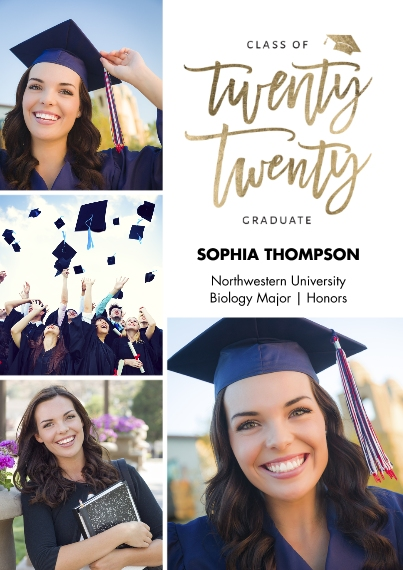 2020 Graduation Announcements 5x7 Cards, Premium Cardstock 120lb with Rounded Corners, Card & Stationery -2020 Grad Lettering by Tumbalina