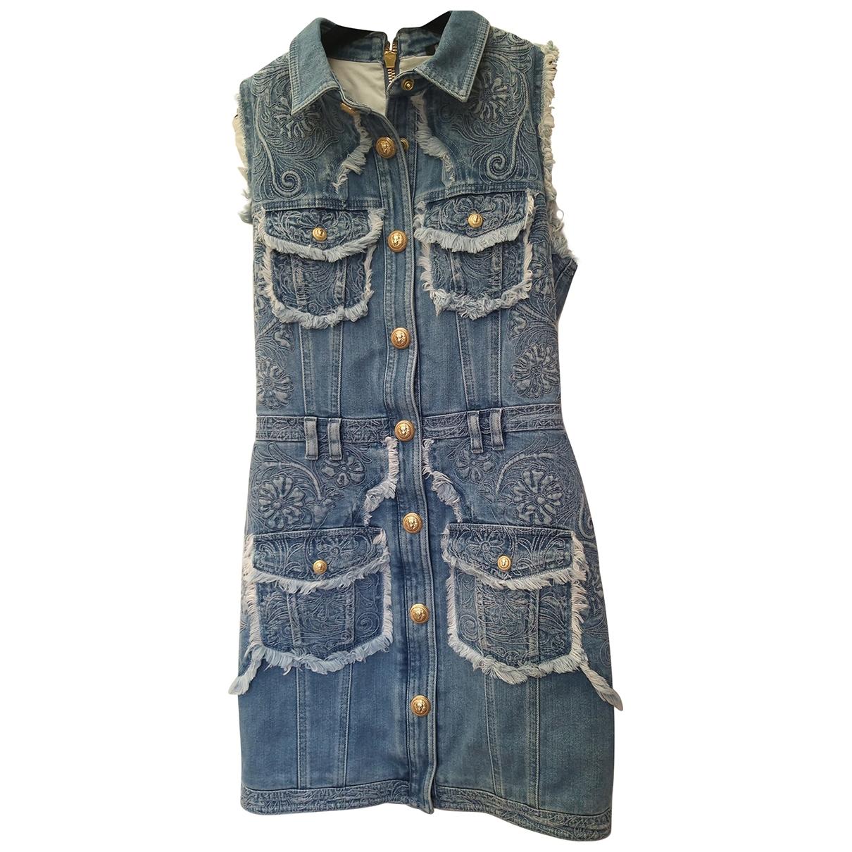 Balmain \N Kleid in  Blau Denim - Jeans