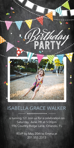 Kids Birthday Party 4x8 Flat Card Set, 85lb, Card & Stationery -Birthday Party Flags