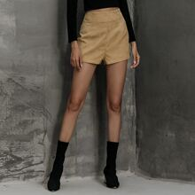 Corduroy High Waist Solid Shorts