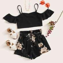 Girls Cold Shoulder Top & Floral Print Belted Shorts Set