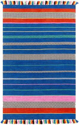 TRZ3004-810 8 x 10 Rug  in Bright Blue and Black and Dark Blue and Grass Green and Dark Red and Bright Pink and Bright Yellow and