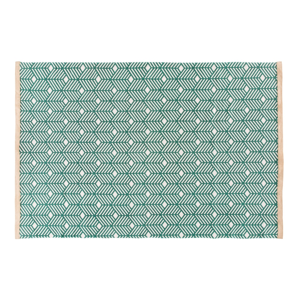 Gruener Baumwollteppich mit grafischen Motiven 140x200