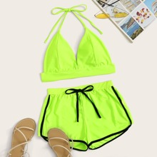 Zweiteiliger Badeanzug mit Neckholder in Neon Lime
