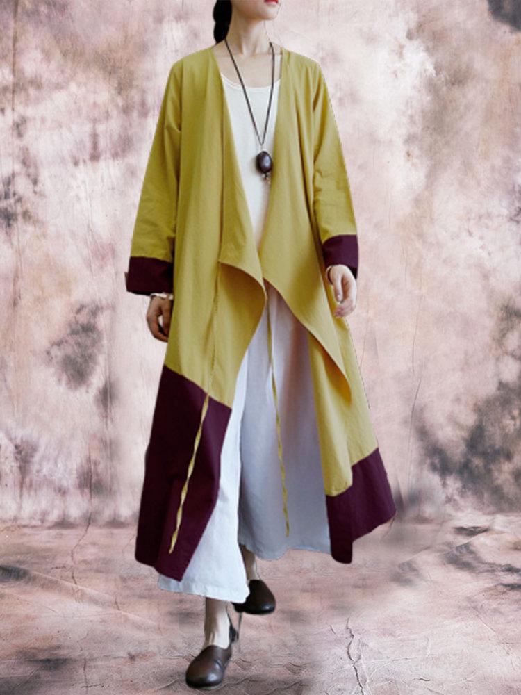 Patchwork Wrap Long Sleeve Plus Size Vintage Maxi Dress