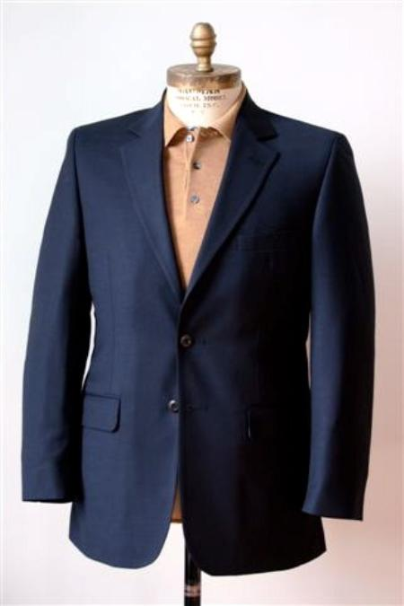 Men?s 2 Button Single Breasted Wool Suit Navy