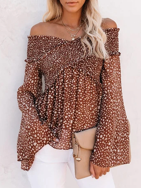YOINS Brown Leopard Off The Shoulder Long Sleeves Blouse