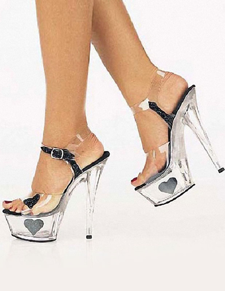 Milanoo Exotic Spike Heel Plastic Sexy Sandals For Woman