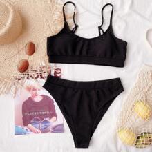 Rib High Waisted Bikini Swimsuit