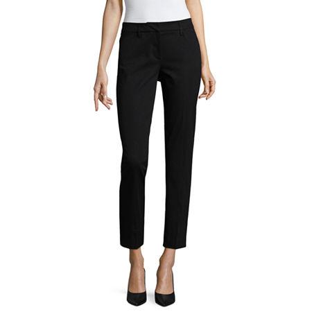 Worthington Womens Low Rise Regular Fit Ankle Pant, 12 , Black