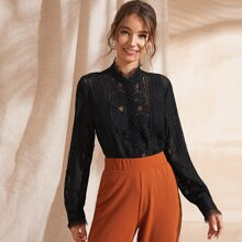 Button Front Lace Sheer Blouse Without Bra