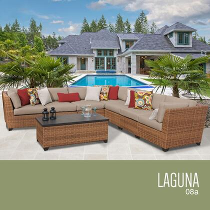 LAGUNA-08a-WHEAT Laguna 8 Piece Outdoor Wicker Patio Furniture Set 08a with 2 Covers: Wheat and