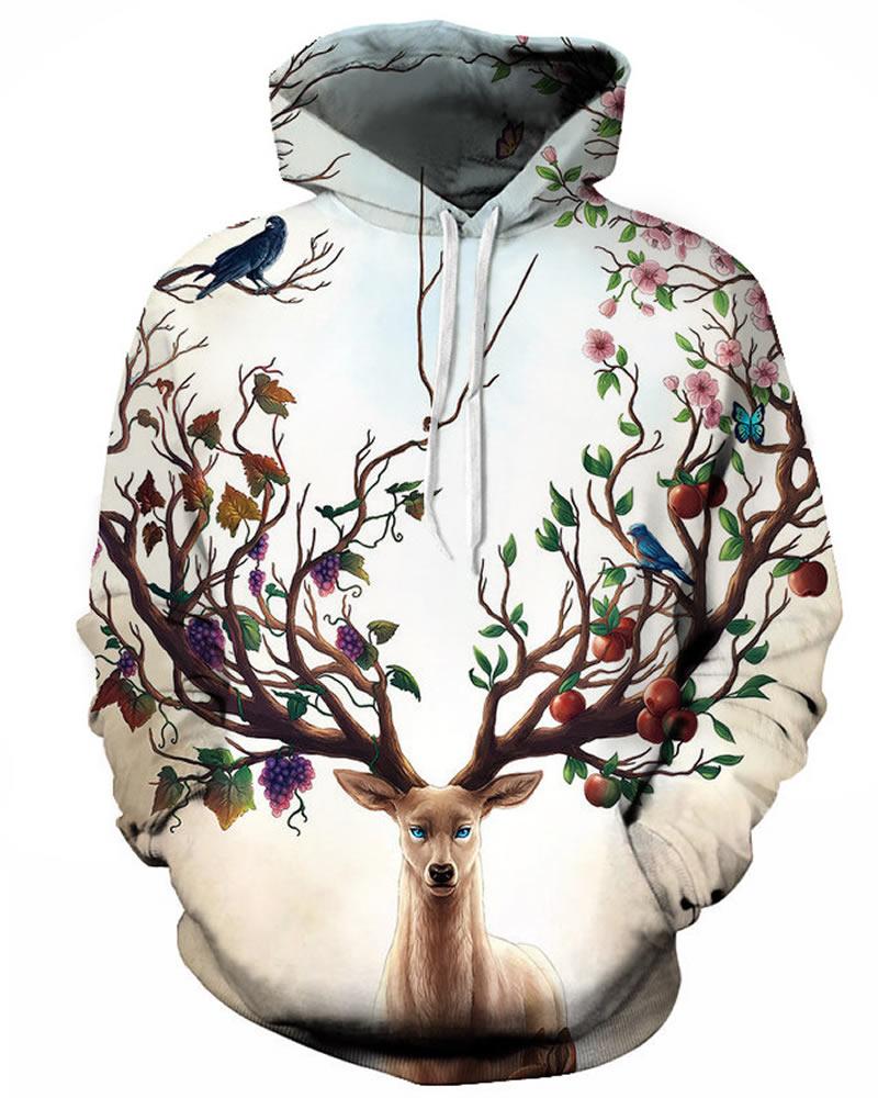 Long Sleeve Floral Deer Tree Pattern 3D Painted Hoodie
