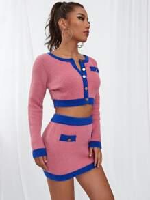 Button Up Crop Fluffy Knit Cardigan & Skirt Set