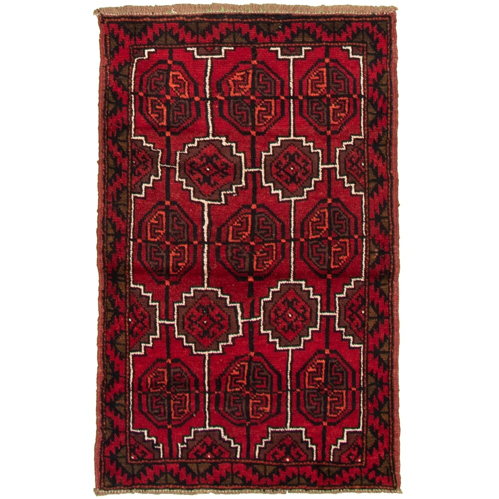 ECARPETGALLERY Hand-knotted Akhjah Red Wool Rug - 3'5 x 5'7 (Red - 3'5 x 5'7)