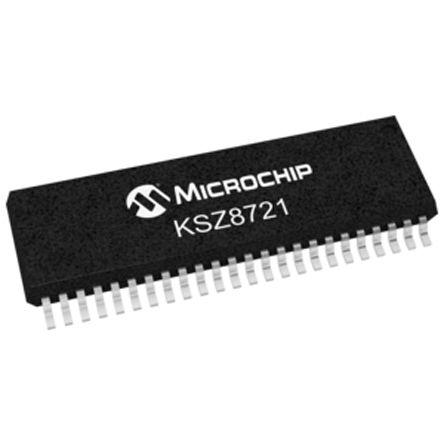 Microchip KSZ8721SL Ethernet Transceiver, IEEE 802.3u, 100Mbps 3.3 V, 48-Pin SSOP
