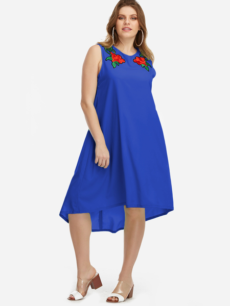Yoins Plus Size Blue Embroidery High-low Hem Dress