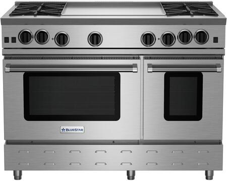 RNB484GV2L 48 RNB Series Freestanding LP Gas Range with 4 Cast Iron Open Burners  4.5 Cu. Ft. Convection Oven  24 Griddle  Simmer Burner  Full