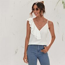Ruffle Trim Asymmetrical Neck Top