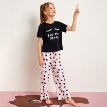 Girls Slogan Graphic Top & Heart Pants PJ Set
