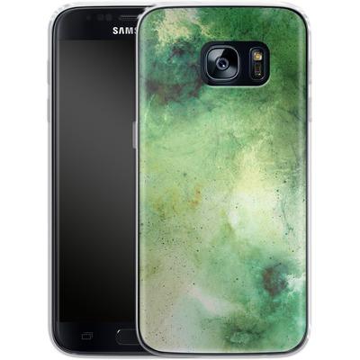 Samsung Galaxy S7 Silikon Handyhuelle - Abstract Galaxy - Green von Barruf