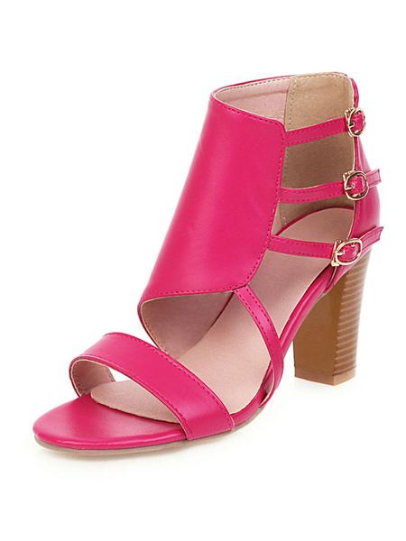 Milanoo High Heel Sandals Womens Triple Straps Open Toe Ankle Strap Chunky Heel Sandals