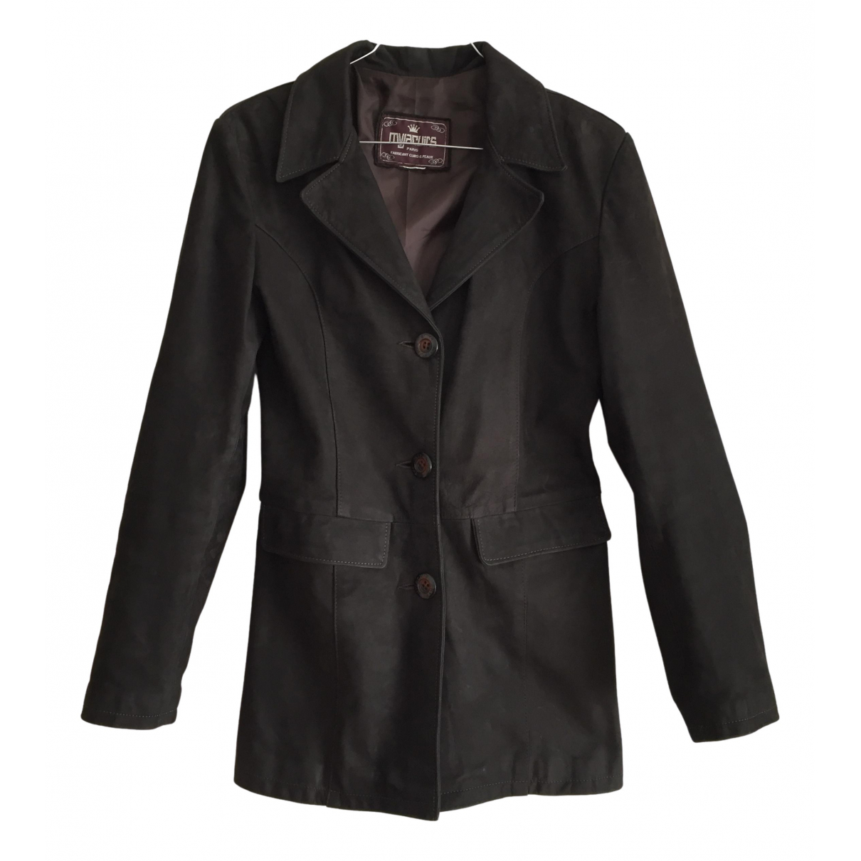 Non Signé / Unsigned \N Brown Leather jacket for Women 34 FR