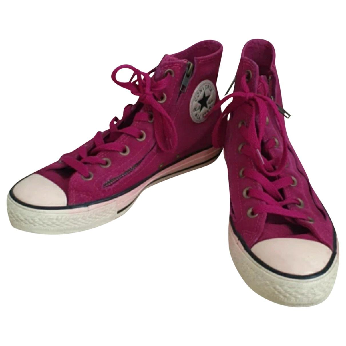 Converse - Baskets   pour femme en suede - rose