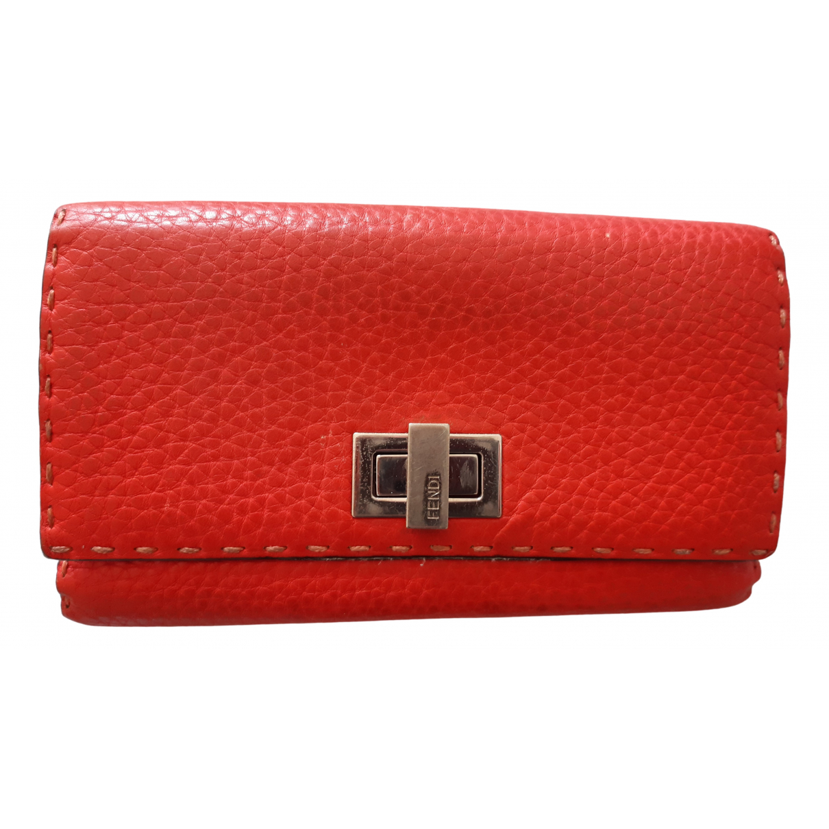 Fendi - Portefeuille   pour femme en cuir - rouge