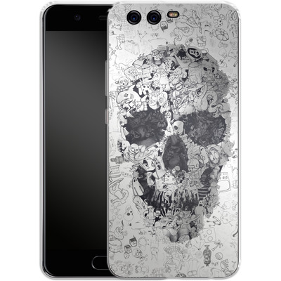 Huawei P10 Silikon Handyhuelle - Doodle Skull von Ali Gulec