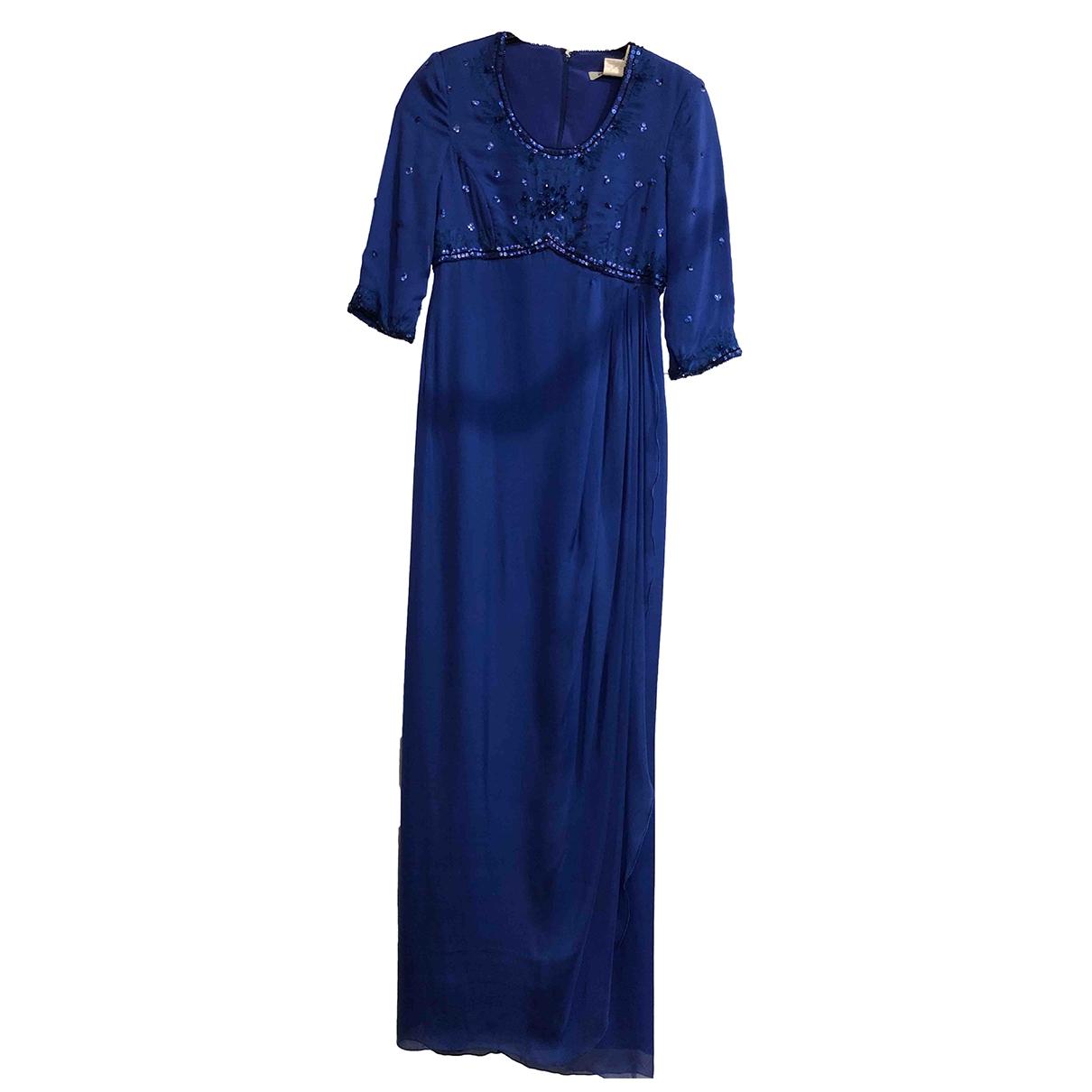 Non Signe / Unsigned Epaulettes Kleid in  Blau Seide