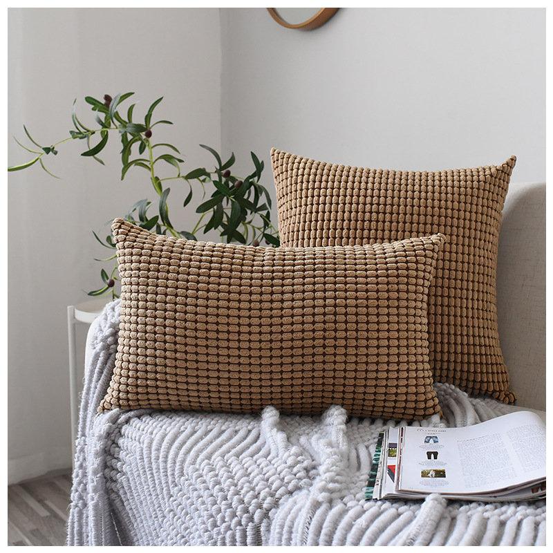 Nordic Solid Color Corn Grain Corduroy Fabric Throw Pillowcases Soft Waist Cushion Cover Home Sofa