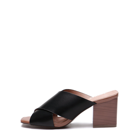 Yoins Black Leather Look Cross Wide Strap Front Stacked Block Heels Slippers