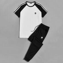 T-Shirt mit Blatt und Buchstaben Muster, Streifen, Raglan Ärmeln und Jogginghose Set