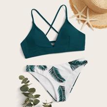 Top mit Band hinten und Bikini mit Pflanzen Muster