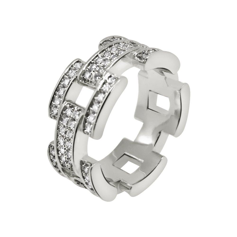 .925 Sterling Silver Prez Link Eternity Band CZ Bling Ring